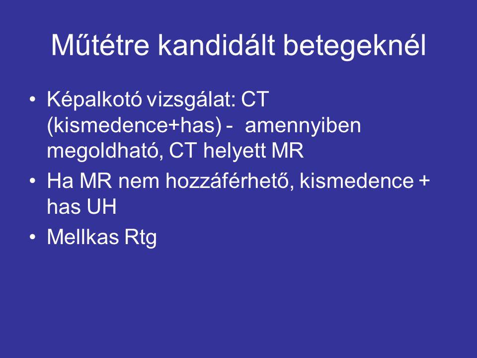 Műtétre kandidált betegeknél Képalkotó vizsgálat: CT (kismedence+has) - amennyiben megoldható, CT helyett MR Ha MR nem hozzáférhető, kismedence + has