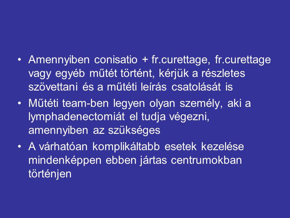 Amennyiben conisatio + fr.curettage, fr.curettage vagy egyéb műtét történt, kérjük a részletes szövettani és a műtéti leírás csatolását is Műtéti team