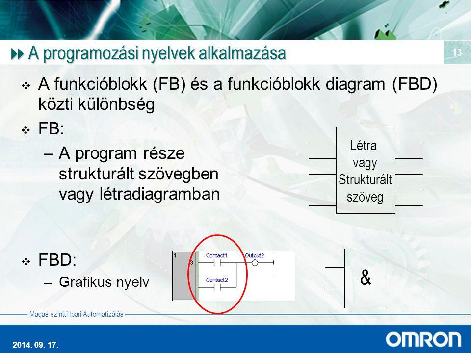 Magas szintű Ipari Automatizálás 2014. 09. 17. 13  A programozási nyelvek alkalmazása  A funkcióblokk (FB) és a funkcióblokk diagram (FBD) közti kül