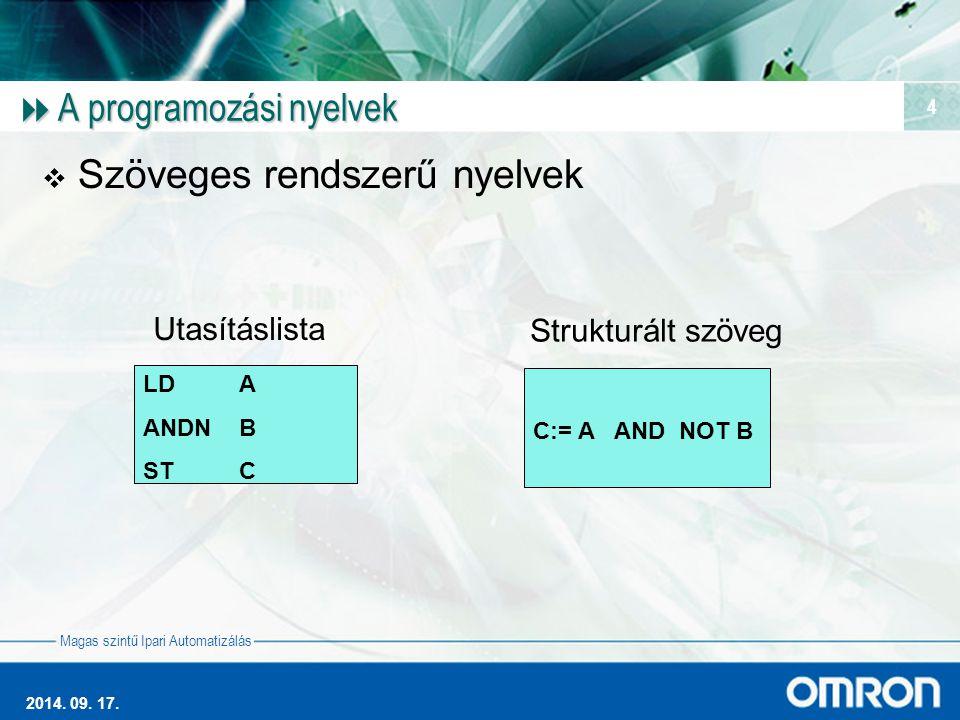 Magas szintű Ipari Automatizálás 2014. 09. 17. 4  A programozási nyelvek  Szöveges rendszerű nyelvek LDA ANDNB STC Utasításlista C:= A AND NOT B Str