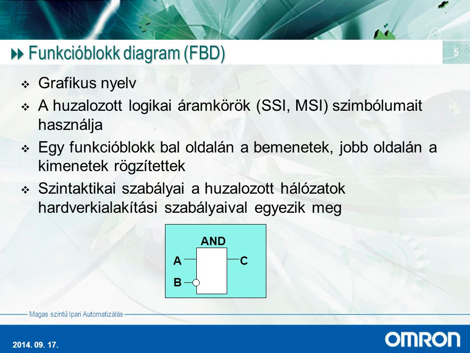 Magas szintű Ipari Automatizálás 2014. 09. 17. 5  Funkcióblokk diagram (FBD)  Grafikus nyelv  A huzalozott logikai áramkörök (SSI, MSI) szimbólumai