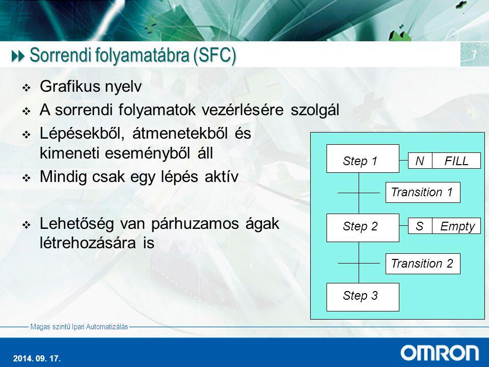 Magas szintű Ipari Automatizálás 2014. 09. 17. 7  Sorrendi folyamatábra (SFC)  Grafikus nyelv  A sorrendi folyamatok vezérlésére szolgál  Lépésekb