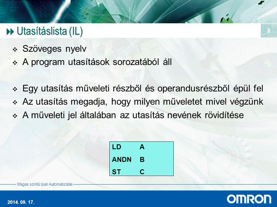 Magas szintű Ipari Automatizálás 2014. 09. 17. 8  Utasításlista (IL)  Szöveges nyelv  A program utasítások sorozatából áll  Egy utasítás műveleti