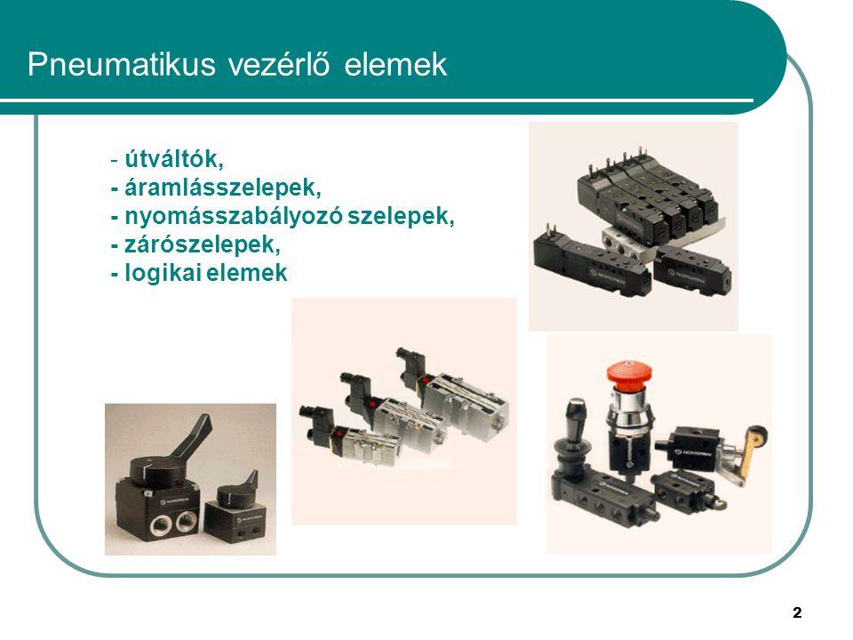 2 Pneumatikus vezérlő elemek - útváltók, - áramlásszelepek, - nyomásszabályozó szelepek, - zárószelepek, - logikai elemek