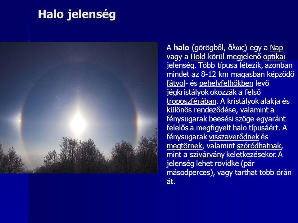 Halo jelenség A halo (görögből, ἅλως) egy a Nap vagy a Hold körül megjelenő optikai jelenség. Több típusa létezik, azonban mindet az 8-12 km magasban