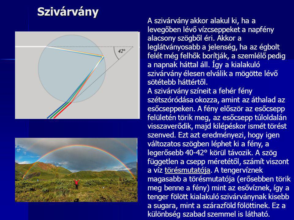 Szivárvány A szivárvány akkor alakul ki, ha a levegőben lévő vízcseppeket a napfény alacsony szögből éri. Akkor a leglátványosabb a jelenség, ha az ég