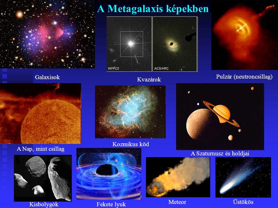 A Világegyetem mérete A Világegyetem: A Világegyetem: Pontos méretét nem ismerjük, mert mai műszereink csak egy darabig érzékelik. A számítások alapjá