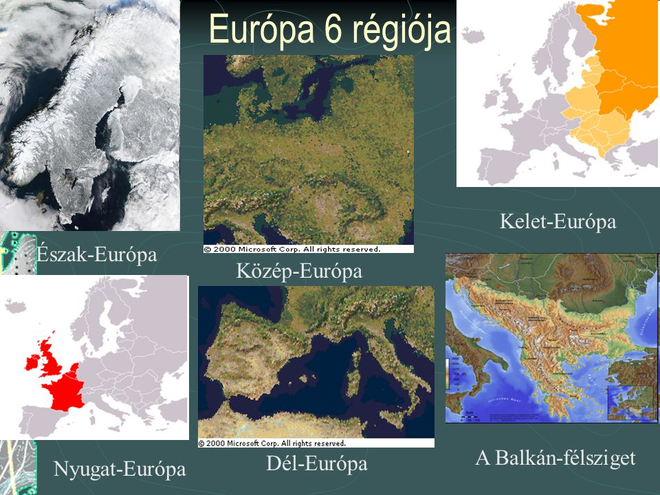 Európa jellemzői (fenomenológiája) Főbb adatai: Terület : 10.366.616 km²; Legmagasabb : Mont Blanc (4807 m); Legmélyebb : Kaszpi-mélyföld (-22 m). Par