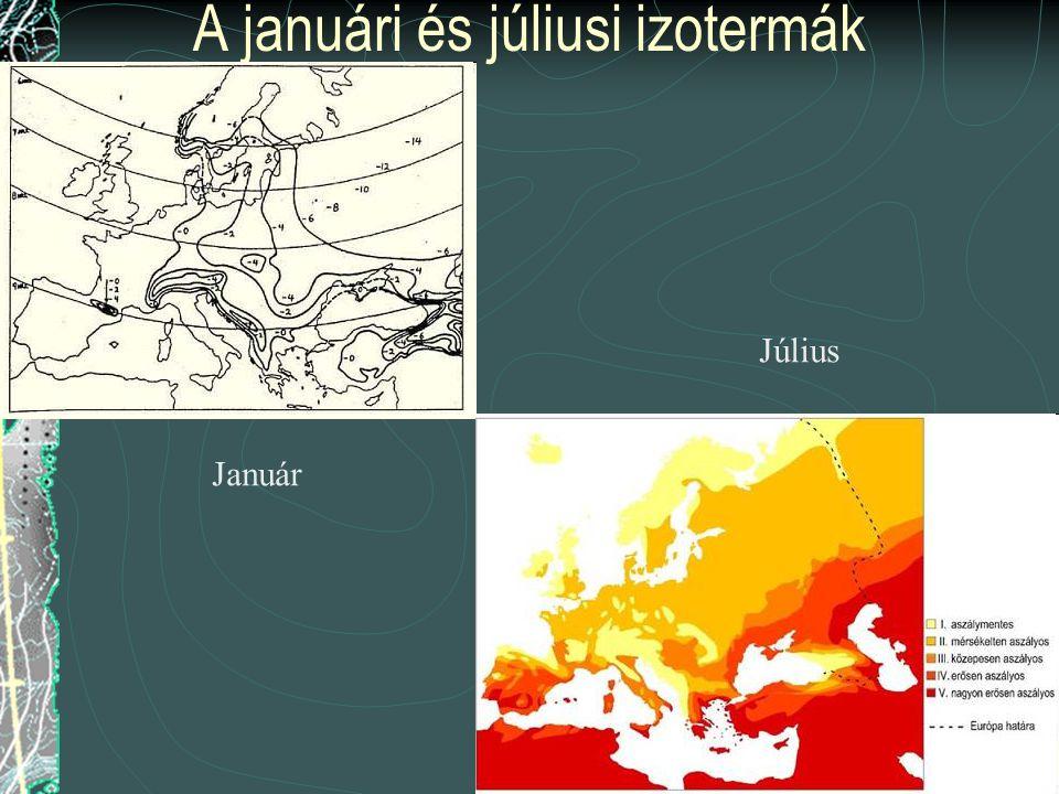 A januári és júliusi izotermák Január Július