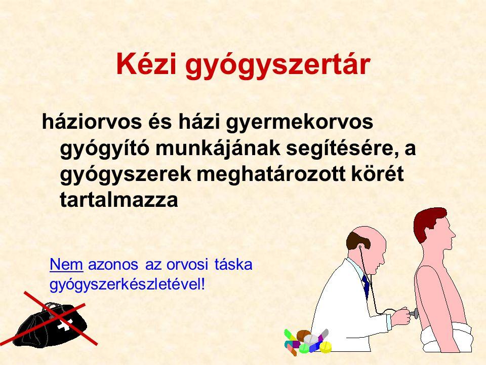 11 Kézi gyógyszertár háziorvos és házi gyermekorvos gyógyító munkájának segítésére, a gyógyszerek meghatározott körét tartalmazza Nem azonos az orvosi