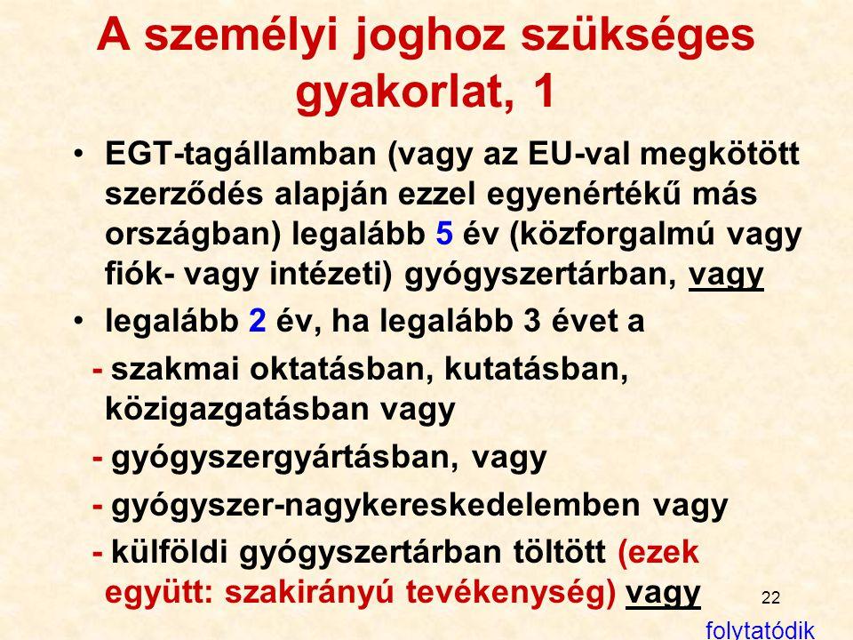 22 A személyi joghoz szükséges gyakorlat, 1 EGT-tagállamban (vagy az EU-val megkötött szerződés alapján ezzel egyenértékű más országban) legalább 5 év