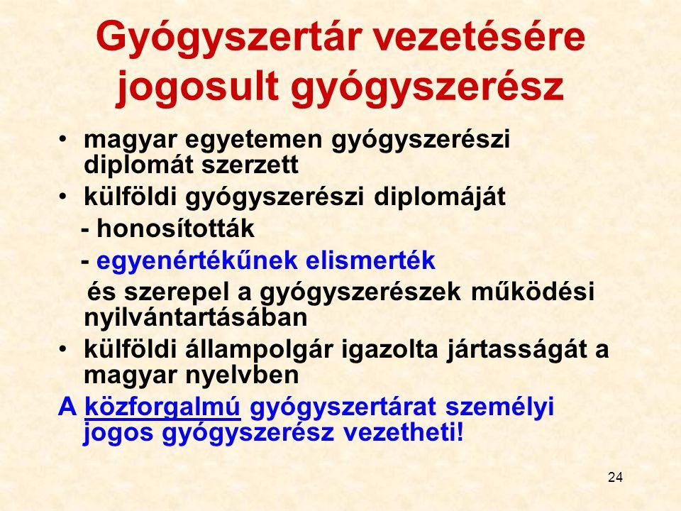 24 Gyógyszertár vezetésére jogosult gyógyszerész magyar egyetemen gyógyszerészi diplomát szerzett külföldi gyógyszerészi diplomáját - honosították - e