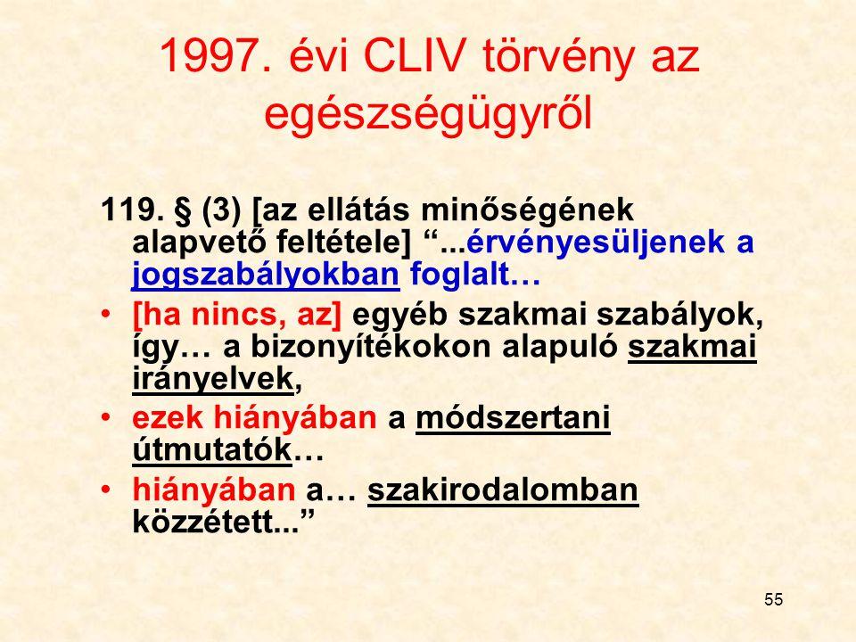 54 A szabályok hierarchiája Jogszabály alkotmány törvény kormányrendelet miniszteri rendelet (önkormányzati rendelet) Szakmai szabály miniszteri irány