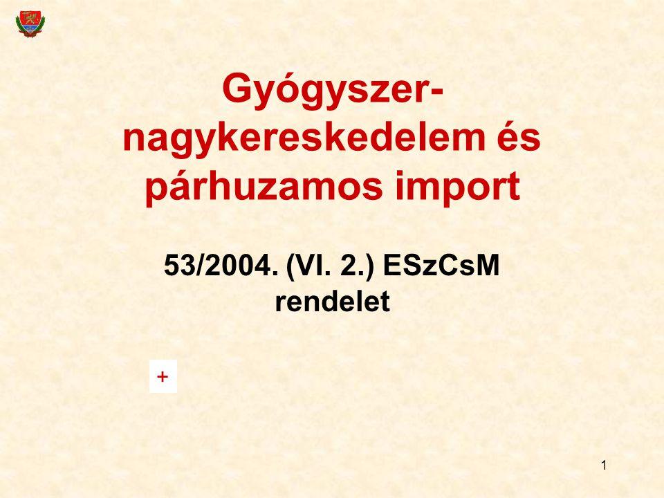 1 Gyógyszer- nagykereskedelem és párhuzamos import 53/2004. (VI. 2.) ESzCsM rendelet +