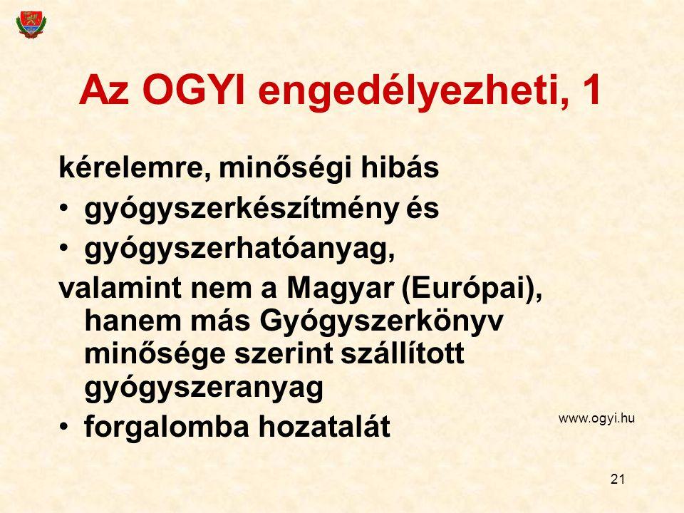 21 Az OGYI engedélyezheti, 1 kérelemre, minőségi hibás gyógyszerkészítmény és gyógyszerhatóanyag, valamint nem a Magyar (Európai), hanem más Gyógyszerkönyv minősége szerint szállított gyógyszeranyag forgalomba hozatalát www.ogyi.hu