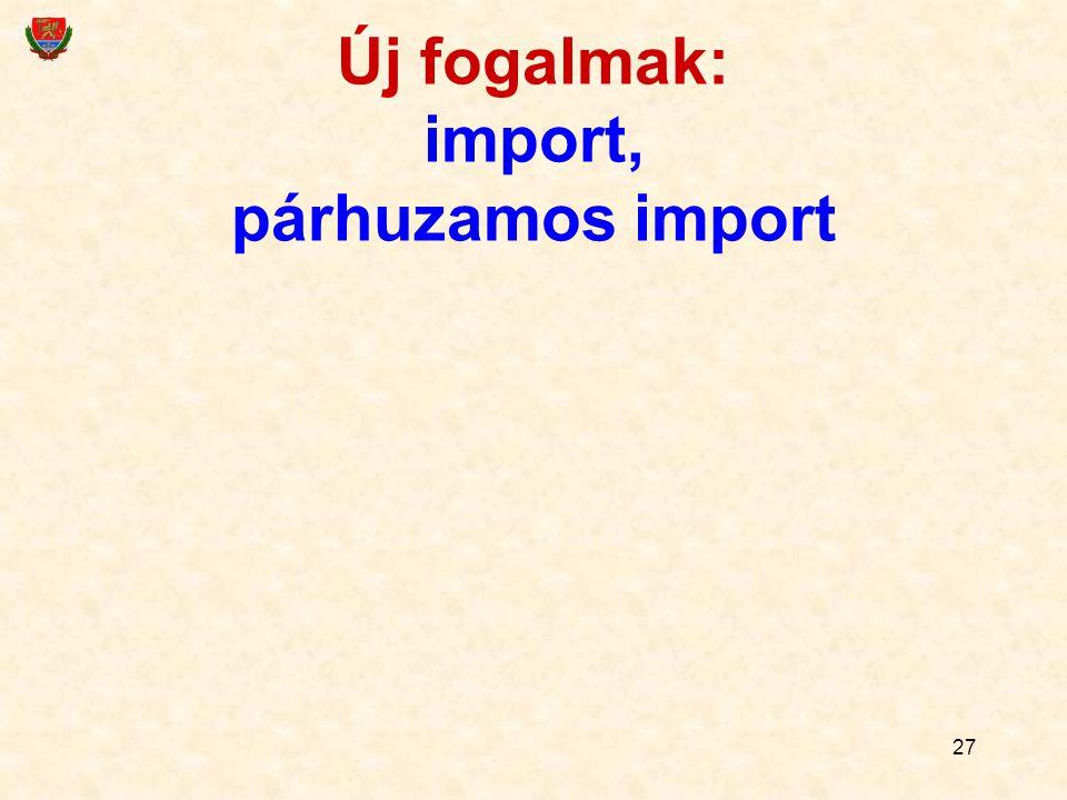 27 Új fogalmak: import, párhuzamos import