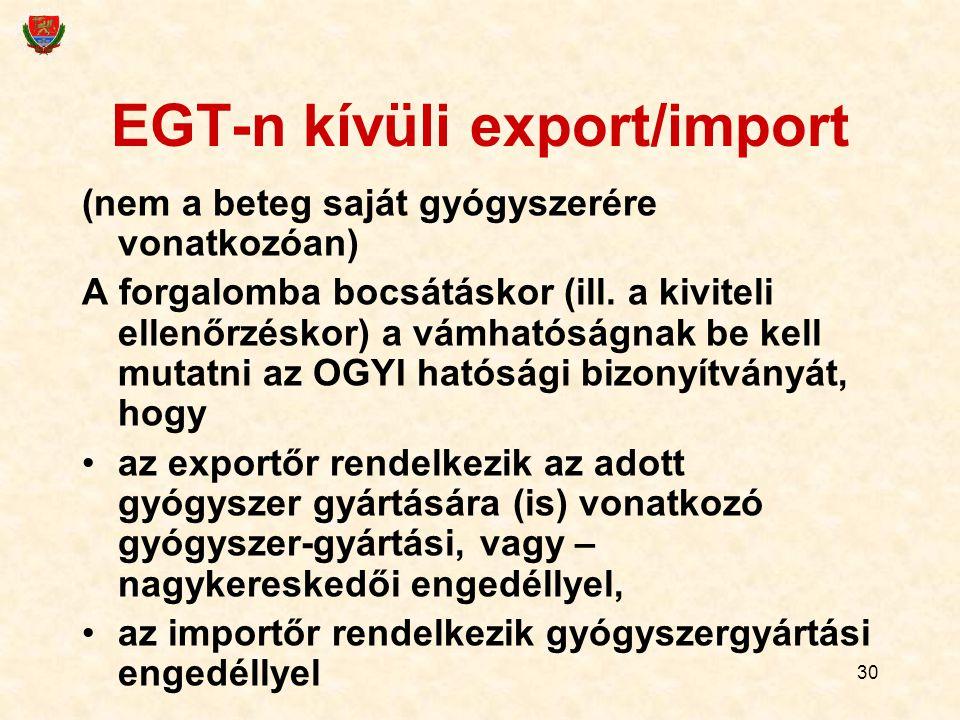 30 EGT-n kívüli export/import (nem a beteg saját gyógyszerére vonatkozóan) A forgalomba bocsátáskor (ill. a kiviteli ellenőrzéskor) a vámhatóságnak be