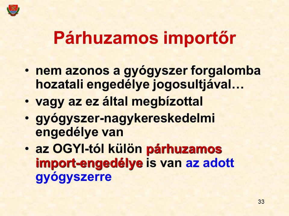 33 Párhuzamos importőr nem azonos a gyógyszer forgalomba hozatali engedélye jogosultjával… vagy az ez által megbízottal gyógyszer-nagykereskedelmi engedélye van párhuzamos import-engedélyeaz OGYI-tól külön párhuzamos import-engedélye is van az adott gyógyszerre