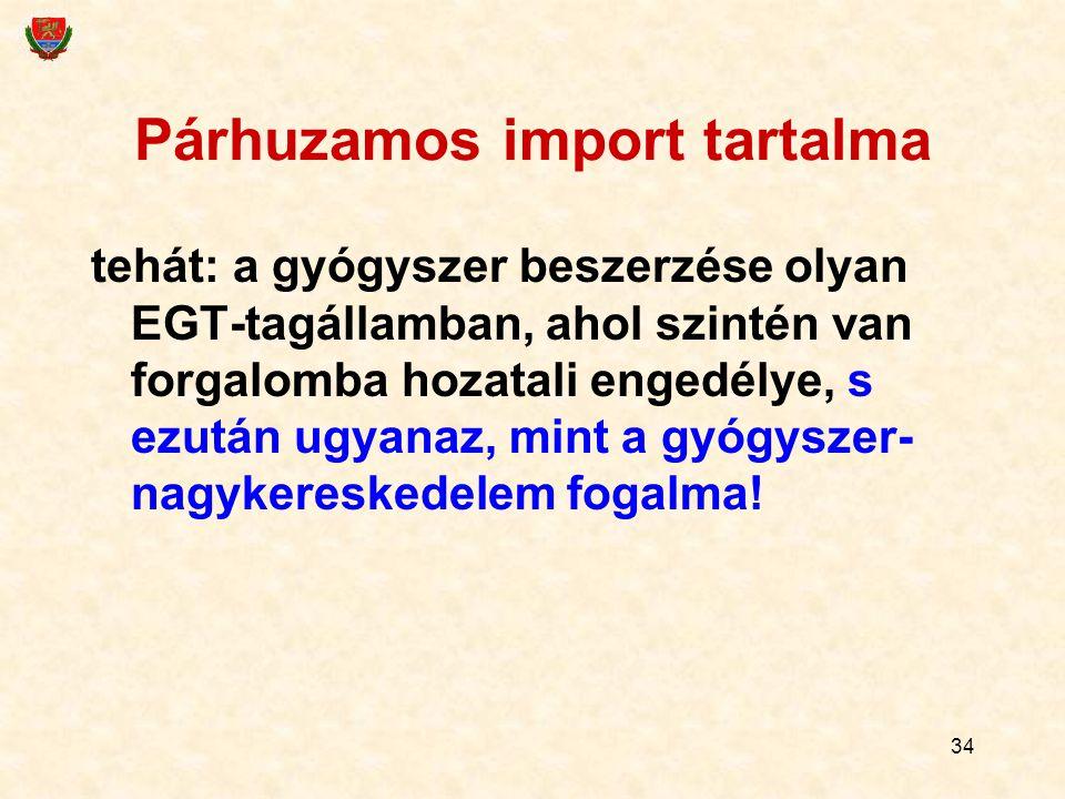 34 Párhuzamos import tartalma tehát: a gyógyszer beszerzése olyan EGT-tagállamban, ahol szintén van forgalomba hozatali engedélye, s ezután ugyanaz, mint a gyógyszer- nagykereskedelem fogalma!