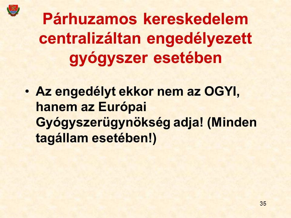 35 Párhuzamos kereskedelem centralizáltan engedélyezett gyógyszer esetében Az engedélyt ekkor nem az OGYI, hanem az Európai Gyógyszerügynökség adja! (