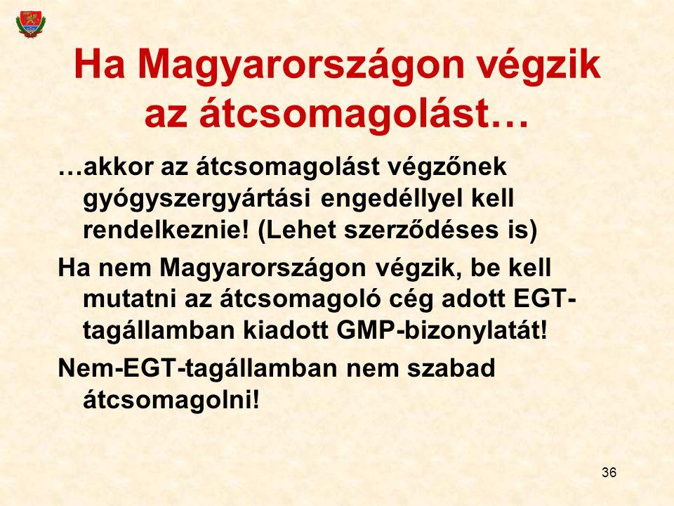 36 Ha Magyarországon végzik az átcsomagolást… …akkor az átcsomagolást végzőnek gyógyszergyártási engedéllyel kell rendelkeznie! (Lehet szerződéses is)