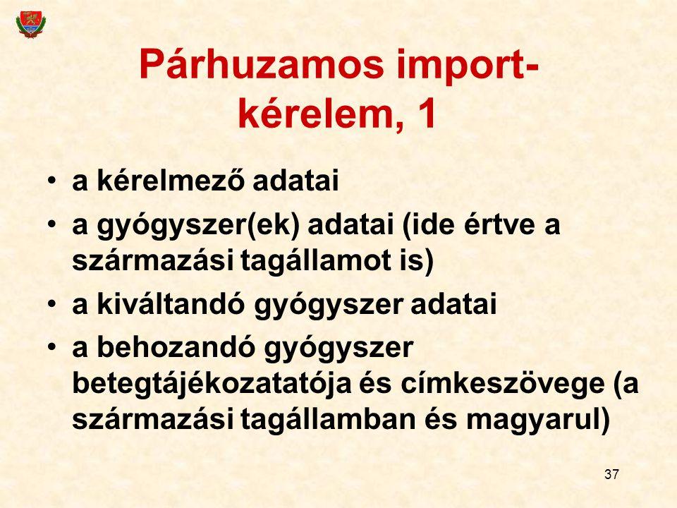 37 Párhuzamos import- kérelem, 1 a kérelmező adatai a gyógyszer(ek) adatai (ide értve a származási tagállamot is) a kiváltandó gyógyszer adatai a behozandó gyógyszer betegtájékozatatója és címkeszövege (a származási tagállamban és magyarul)