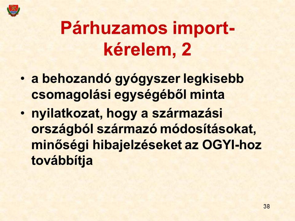 38 Párhuzamos import- kérelem, 2 a behozandó gyógyszer legkisebb csomagolási egységéből minta nyilatkozat, hogy a származási országból származó módosításokat, minőségi hibajelzéseket az OGYI-hoz továbbítja