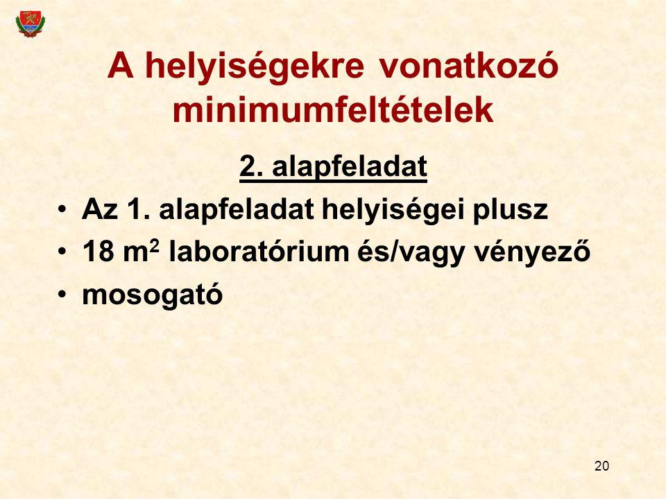 20 A helyiségekre vonatkozó minimumfeltételek 2. alapfeladat Az 1.