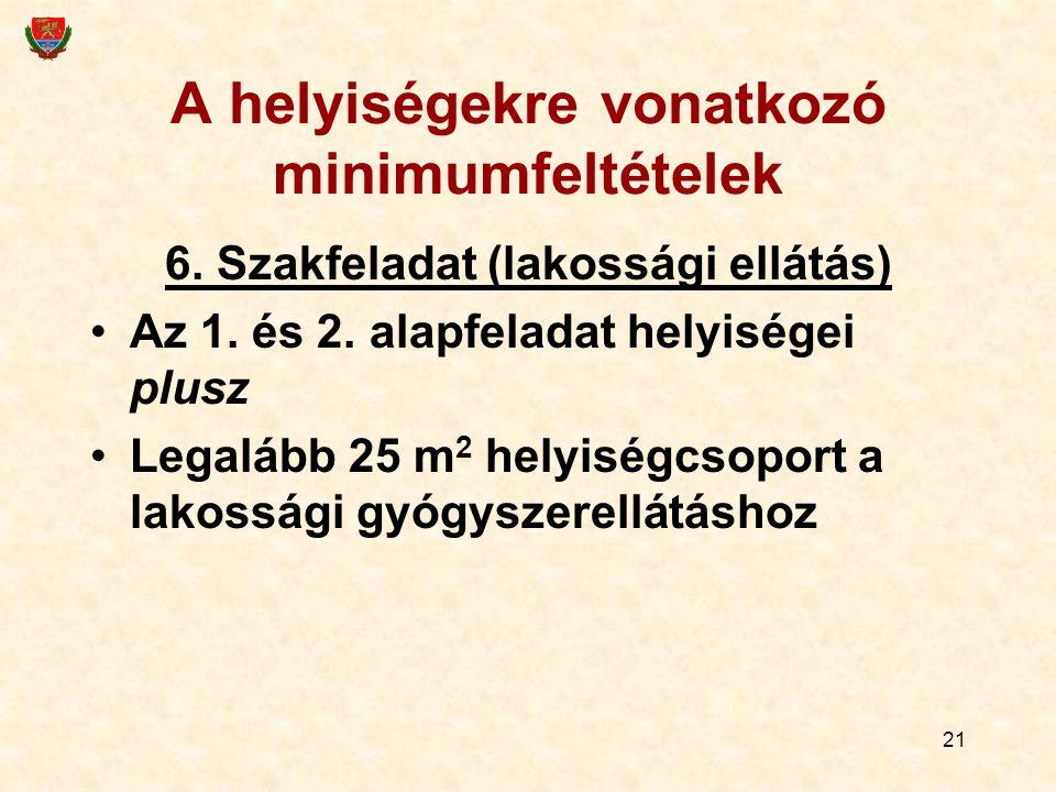 21 A helyiségekre vonatkozó minimumfeltételek 6. Szakfeladat (lakossági ellátás) Az 1.