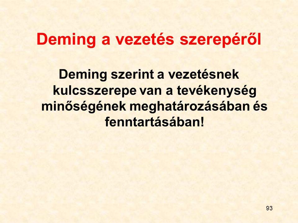 93 Deming a vezetés szerepéről Deming szerint a vezetésnek kulcsszerepe van a tevékenység minőségének meghatározásában és fenntartásában!