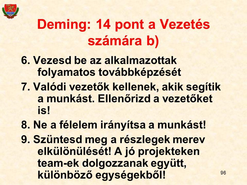 96 Deming: 14 pont a Vezetés számára b) 6.Vezesd be az alkalmazottak folyamatos továbbképzését 7.