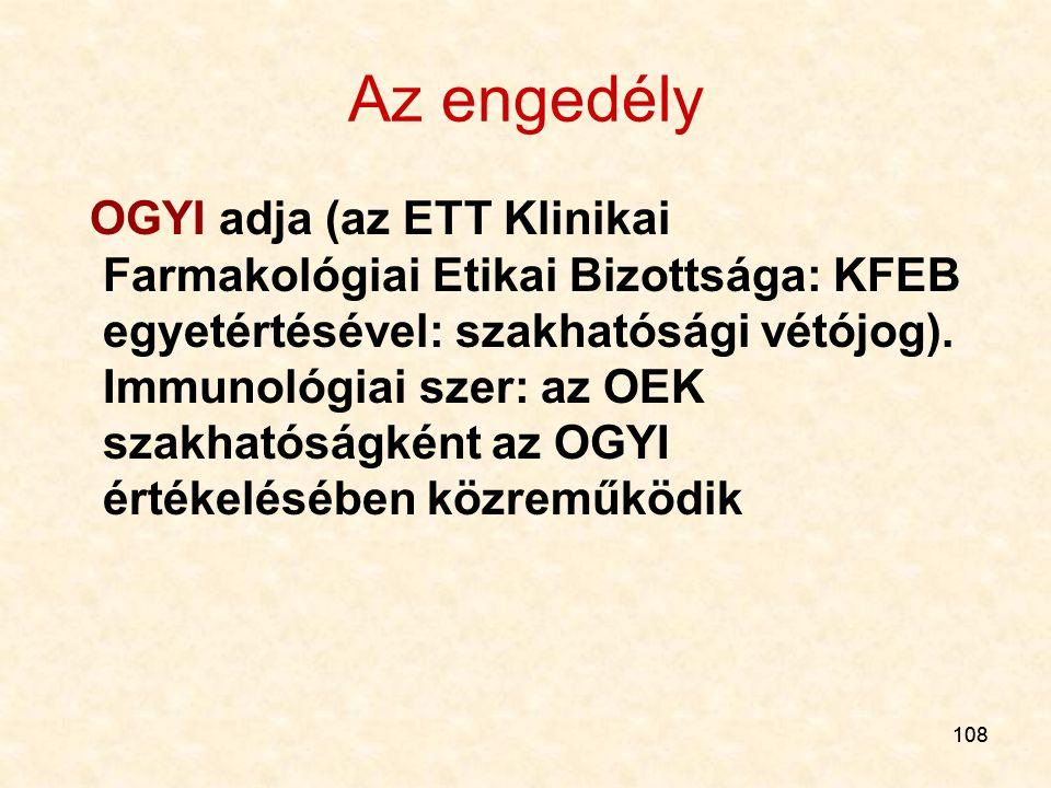 108 Az engedély OGYI adja (az ETT Klinikai Farmakológiai Etikai Bizottsága: KFEB egyetértésével: szakhatósági vétójog). Immunológiai szer: az OEK szak