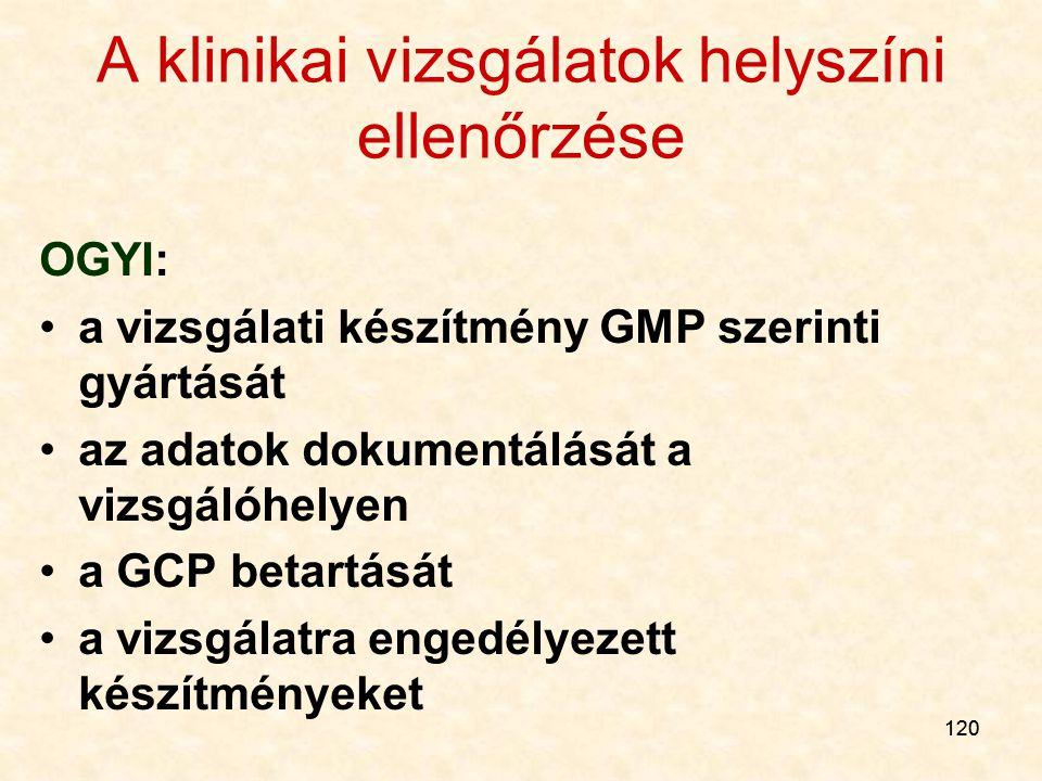 120 A klinikai vizsgálatok helyszíni ellenőrzése OGYI: a vizsgálati készítmény GMP szerinti gyártását az adatok dokumentálását a vizsgálóhelyen a GCP