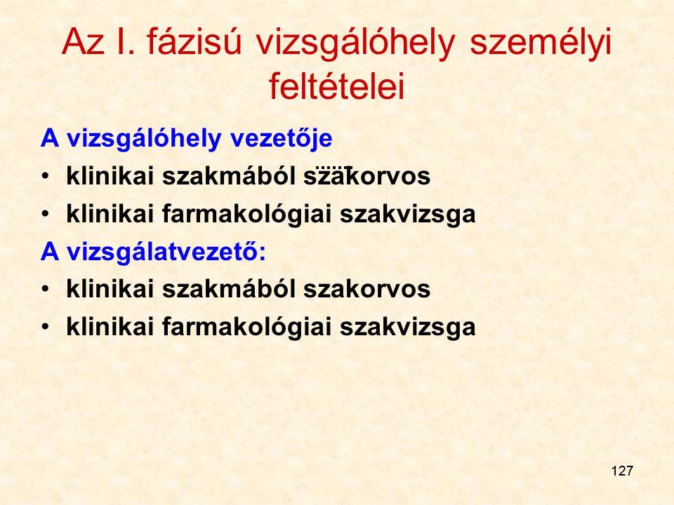 127 Az I. fázisú vizsgálóhely személyi feltételei A vizsgálóhely vezetője klinikai szakmából szakorvos klinikai farmakológiai szakvizsga A vizsgálatve