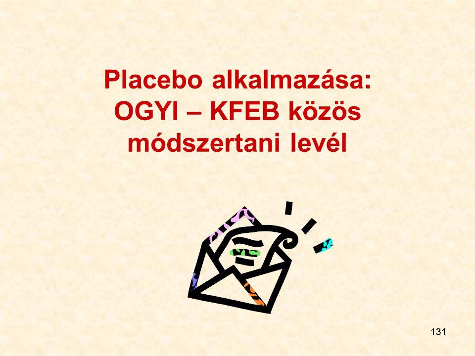 131 Placebo alkalmazása: OGYI – KFEB közös módszertani levél