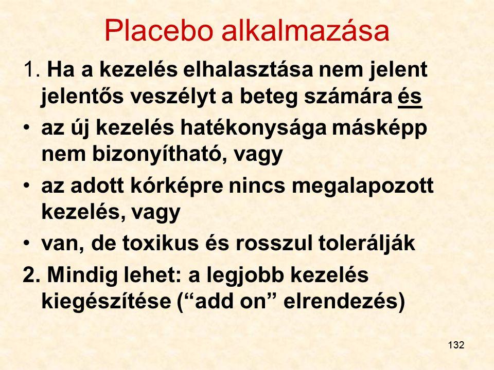 132 Placebo alkalmazása 1. Ha a kezelés elhalasztása nem jelent jelentős veszélyt a beteg számára és az új kezelés hatékonysága másképp nem bizonyítha