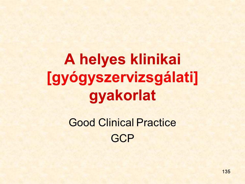 135 A helyes klinikai [gyógyszervizsgálati] gyakorlat Good Clinical Practice GCP