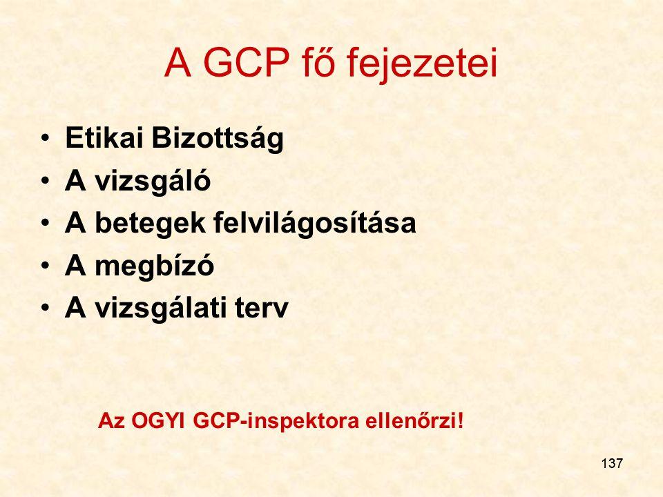 137 A GCP fő fejezetei Etikai Bizottság A vizsgáló A betegek felvilágosítása A megbízó A vizsgálati terv Az OGYI GCP-inspektora ellenőrzi!