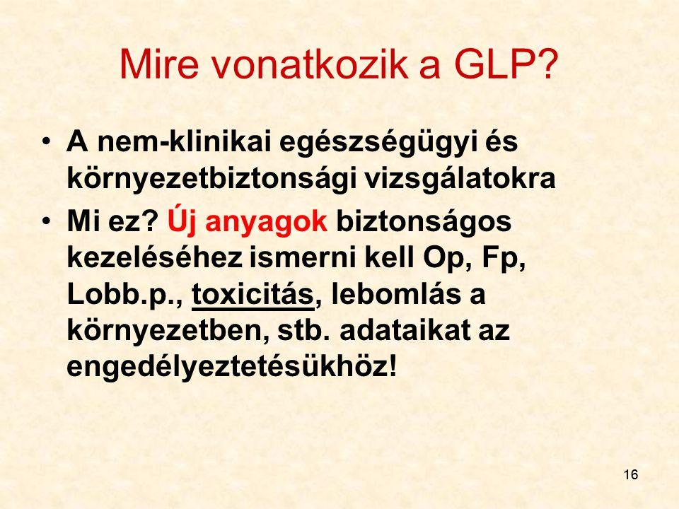 16 Mire vonatkozik a GLP? A nem-klinikai egészségügyi és környezetbiztonsági vizsgálatokra Mi ez? Új anyagok biztonságos kezeléséhez ismerni kell Op,