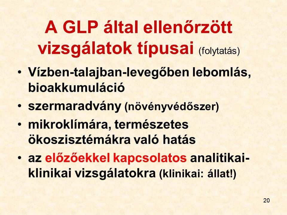 20 A GLP által ellenőrzött vizsgálatok típusai (folytatás) Vízben-talajban-levegőben lebomlás, bioakkumuláció szermaradvány (növényvédőszer) mikroklím