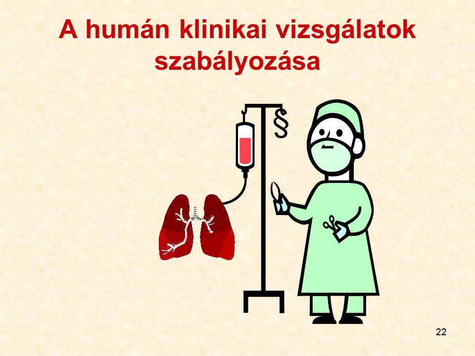 22 A humán klinikai vizsgálatok szabályozása §
