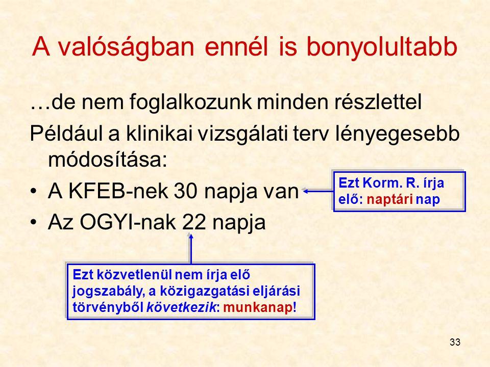 33 A valóságban ennél is bonyolultabb …de nem foglalkozunk minden részlettel Például a klinikai vizsgálati terv lényegesebb módosítása: A KFEB-nek 30