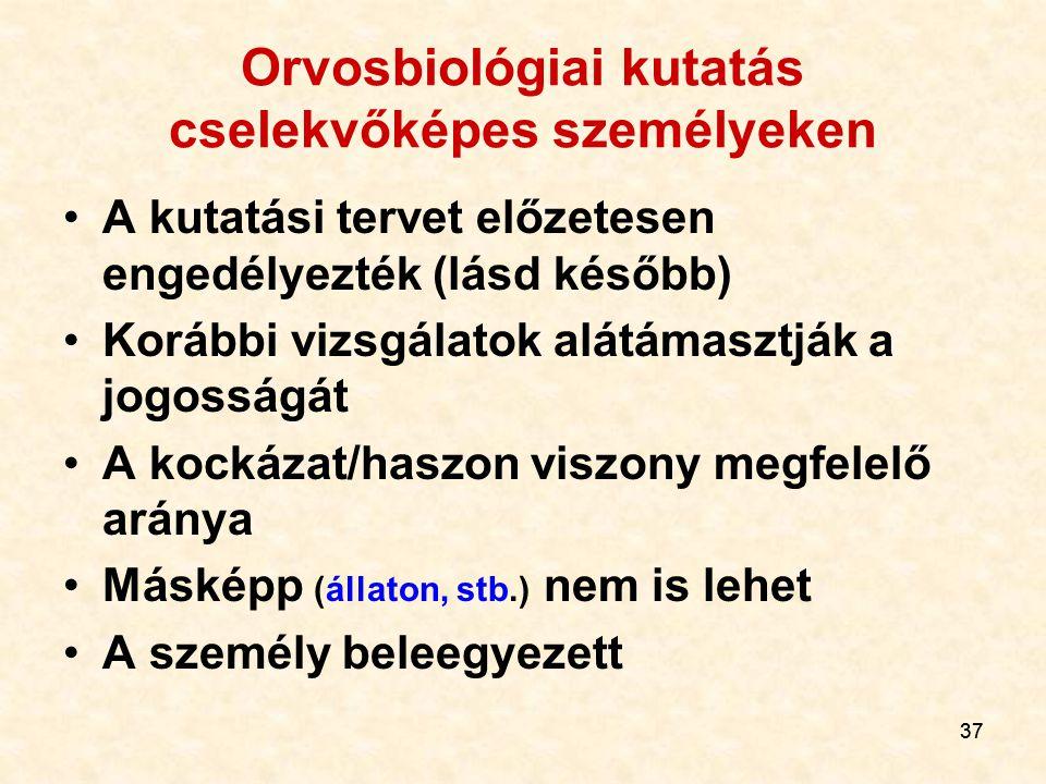 37 Orvosbiológiai kutatás cselekvőképes személyeken A kutatási tervet előzetesen engedélyezték (lásd később) Korábbi vizsgálatok alátámasztják a jogos