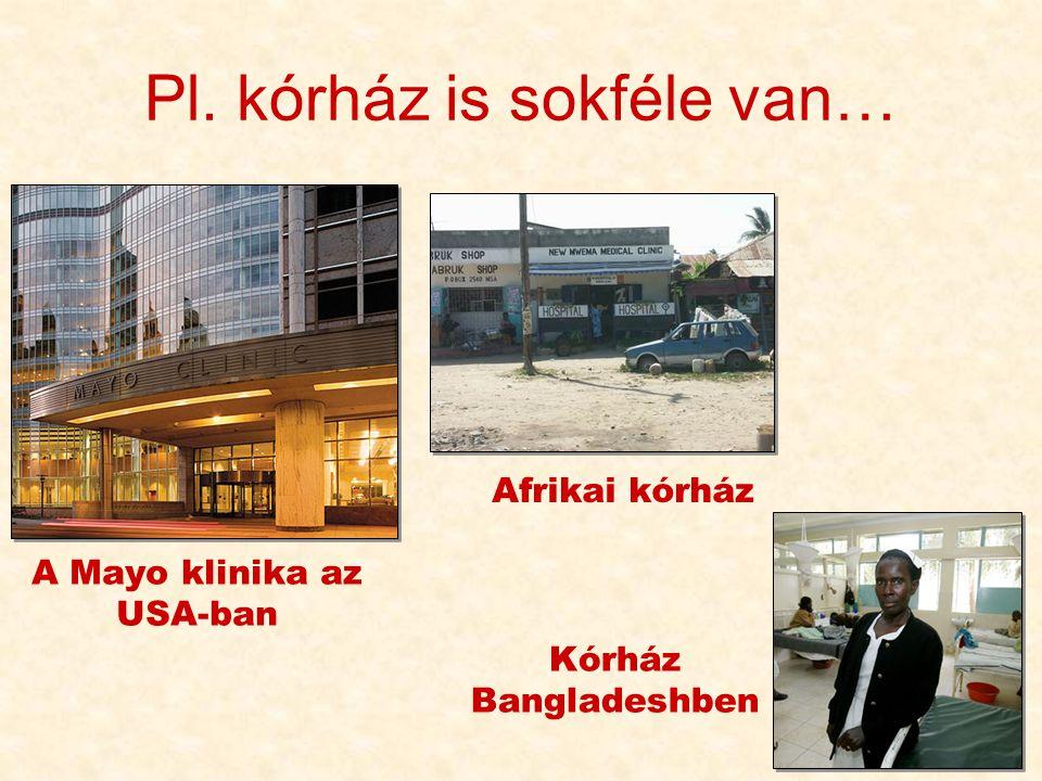 72 Pl. kórház is sokféle van… A Mayo klinika az USA-ban Afrikai kórház Kórház Bangladeshben