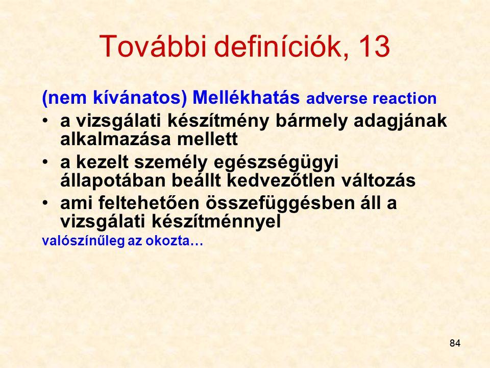 84 További definíciók, 13 (nem kívánatos) Mellékhatás adverse reaction a vizsgálati készítmény bármely adagjának alkalmazása mellett a kezelt személy
