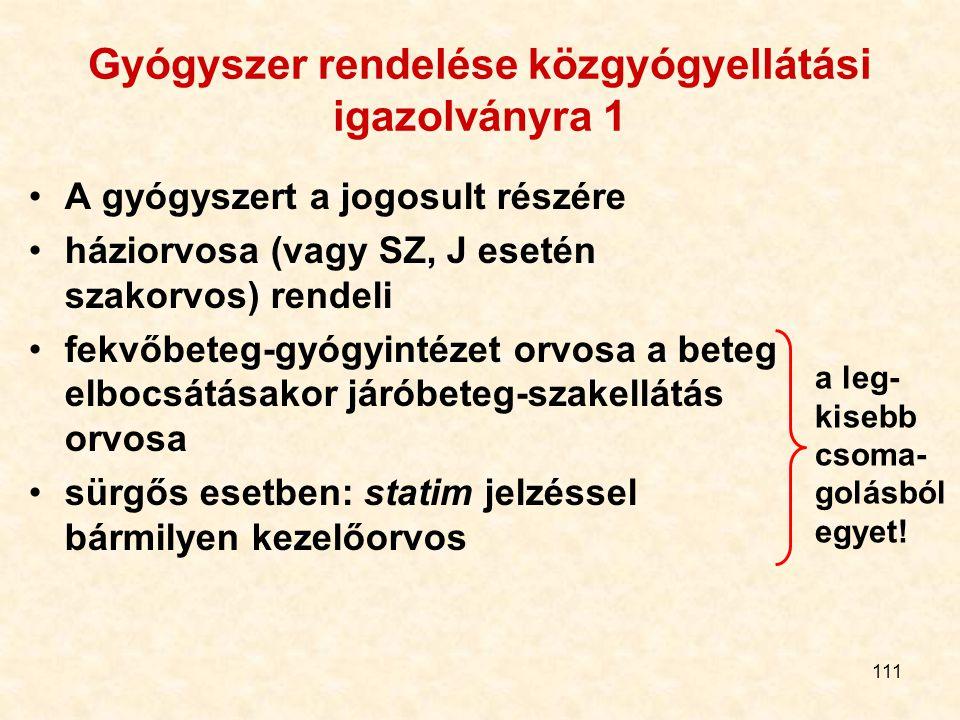 111 Gyógyszer rendelése közgyógyellátási igazolványra 1 A gyógyszert a jogosult részére háziorvosa (vagy SZ, J esetén szakorvos) rendeli fekvőbeteg-gy