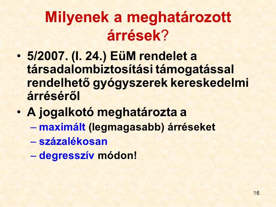 16 Milyenek a meghatározott árrések? 5/2007. (I. 24.) EüM rendelet a társadalombiztosítási támogatással rendelhető gyógyszerek kereskedelmi árréséről