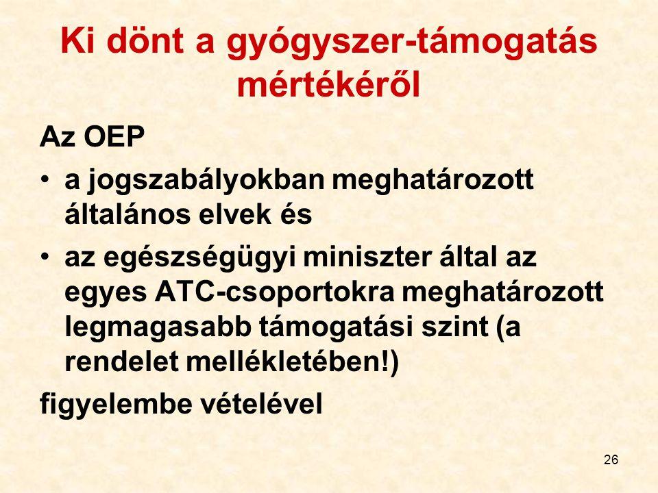 26 Ki dönt a gyógyszer-támogatás mértékéről Az OEP a jogszabályokban meghatározott általános elvek és az egészségügyi miniszter által az egyes ATC-csoportokra meghatározott legmagasabb támogatási szint (a rendelet mellékletében!) figyelembe vételével