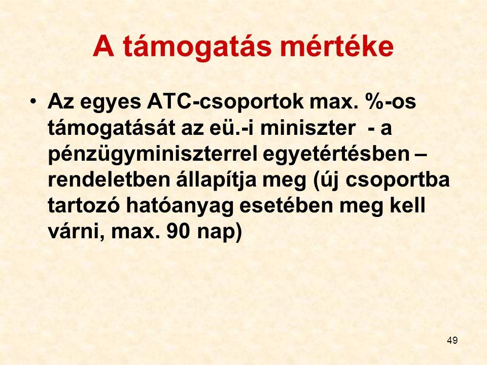 49 A támogatás mértéke Az egyes ATC-csoportok max. %-os támogatását az eü.-i miniszter - a pénzügyminiszterrel egyetértésben – rendeletben állapítja m