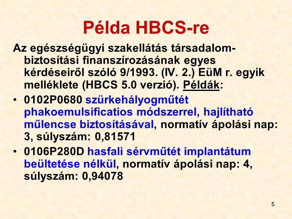 5 Példa HBCS-re Az egészségügyi szakellátás társadalom- biztosítási finanszírozásának egyes kérdéseiről szóló 9/1993. (IV. 2.) EüM r. egyik melléklete
